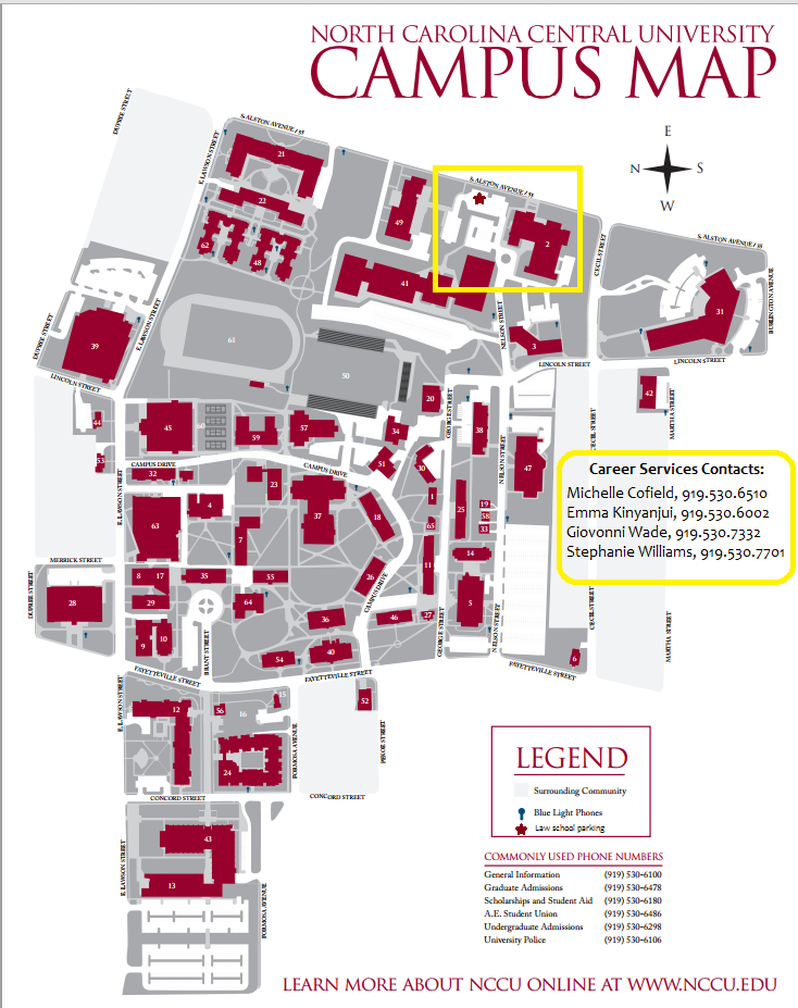 Campus Area Map « NCCU School of Law